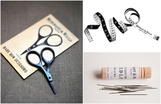 Merchant & Mills Schere, Maßband und Nadeln