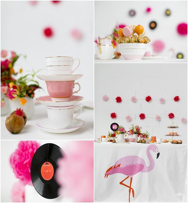 Tischdeko mit Flamingo Tischdecke