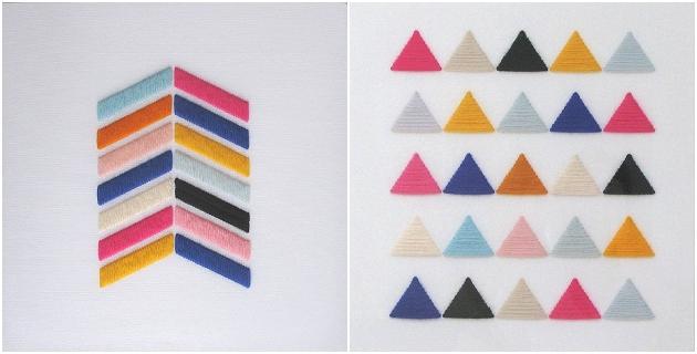 Dreiecke und Pfeile sticken