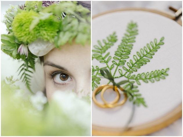 ring bearer pillow greenery and fern