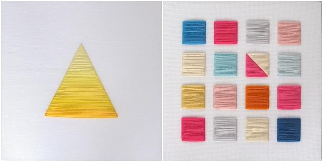 Dreieck mit Farbverlauf sticken