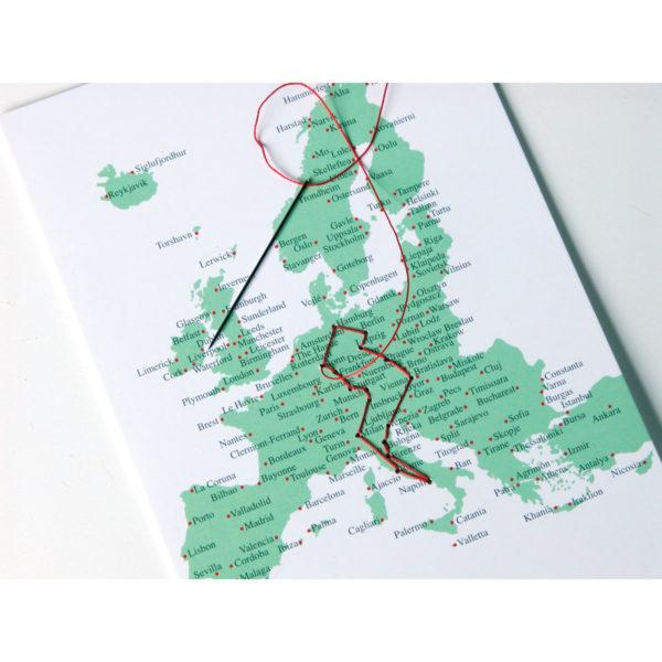 Postkarte Europakarte sticken