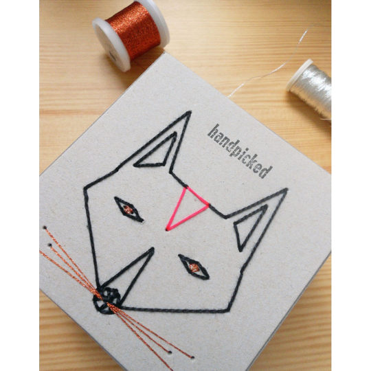 Fuchs auf Schachtel sticken