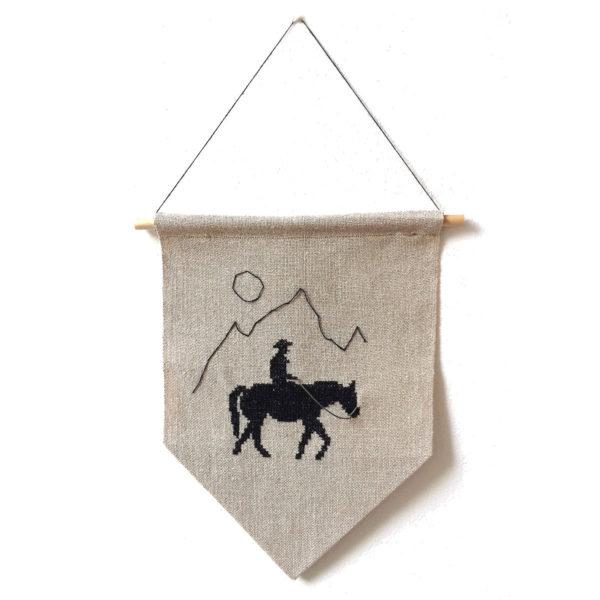 Stickvorlage Cowboy und Pferd