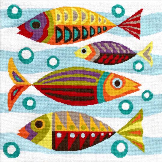 Tapisserie Stickpackung Gobelin Fische geometrisch