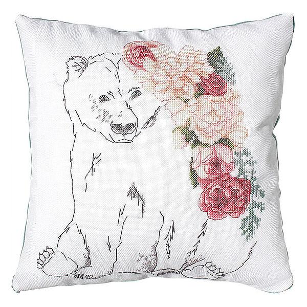 Bär und Blumen Kissen sticken