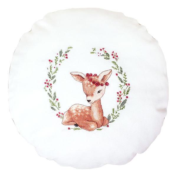 Rehkitz, Bambi, und Blumen als Kissen sticken