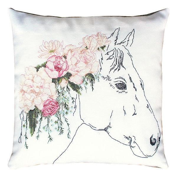 Pferd mit Blumen sticken als Kissen
