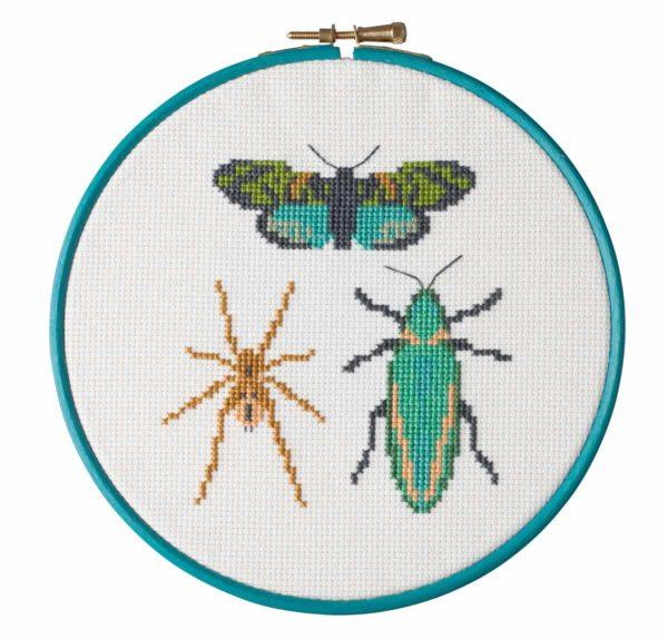 Stickmuster Kreuzstich Spinne, Motte, Käfer