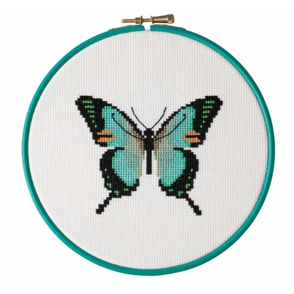 Stickvorlage Kreuzstich Schmetterling türkis