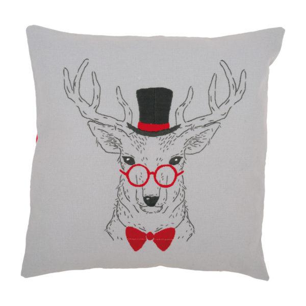 Stickpackung Hirsch mit Brille, Fliege und Zylinder modern