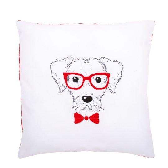 Stickpackung Hund mit roter Brille und Fliege