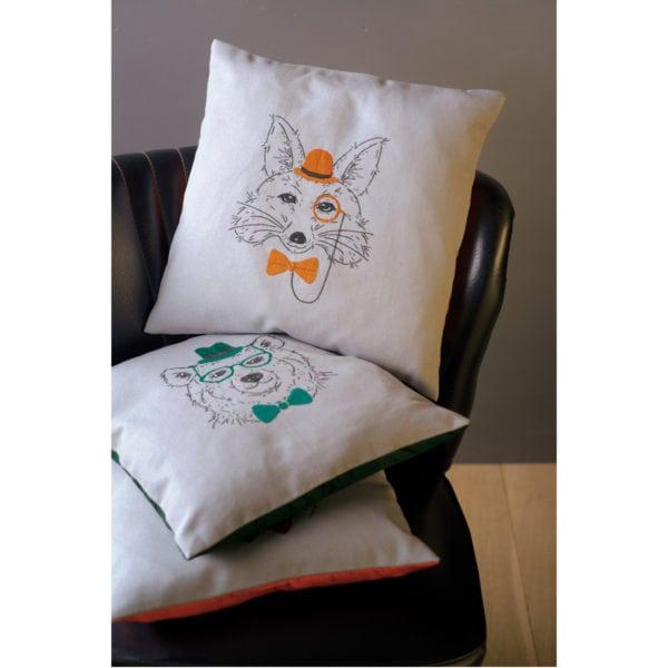 kissen mit b r hut und brille sticken l stickpackung. Black Bedroom Furniture Sets. Home Design Ideas
