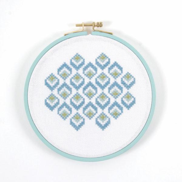Stickpackung mit geometrischem Muster in Blau