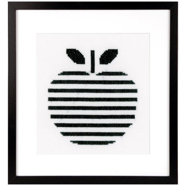 Stickvorlage Apfel mit grafischem Muster