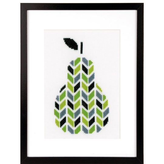 Stickvorlage Birne mit grafischem Muster