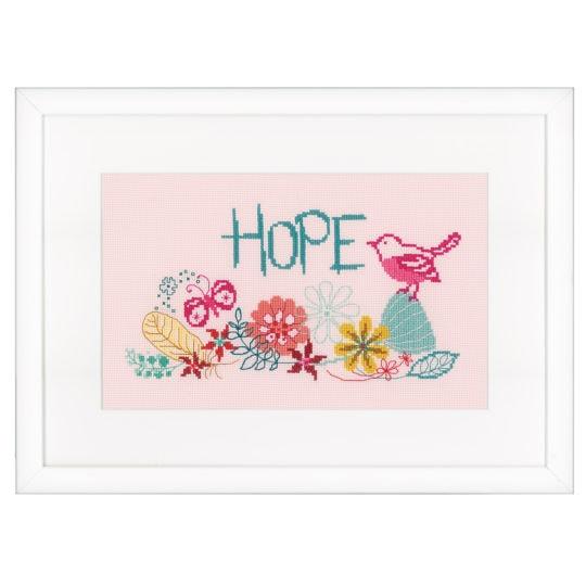 Stickvorlage rosa Blumen mit Vogel und Schmetterling