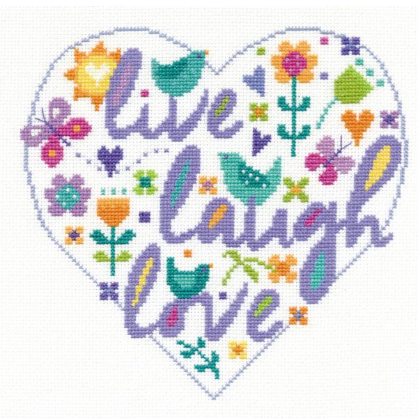 Stickmuster Live Laugh Love mit Blumen