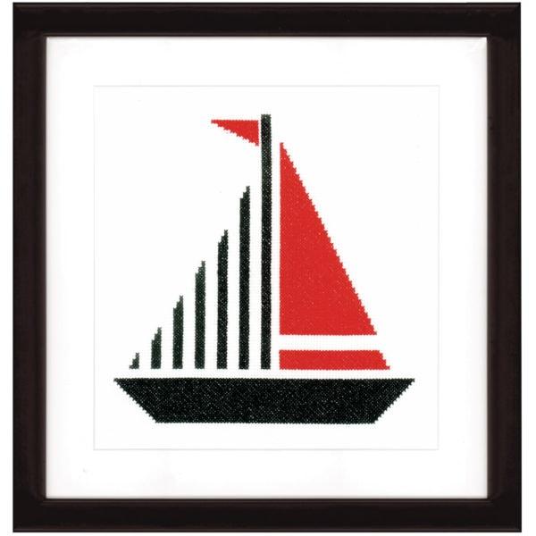 Stickvorlage Segelboot modern