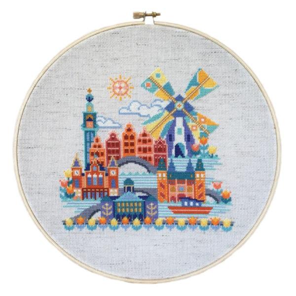 Stickbild Amsterdam mit Windmühle
