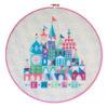 Kreuzstichvorlage: Stickbild Baby und Geburt mit Schloss