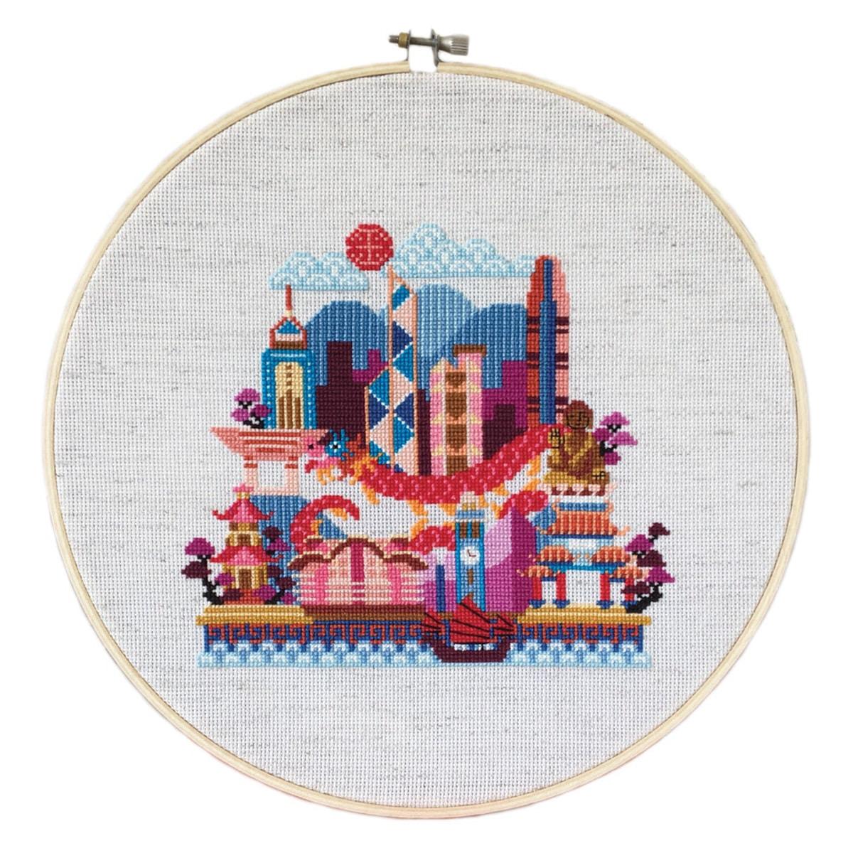 Moderne Stickvorlage Hong Kong bzw Asien für Kreuzstich