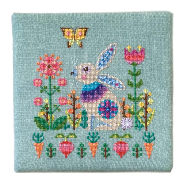 Stickbild für Ostern mit Blumen und Hase