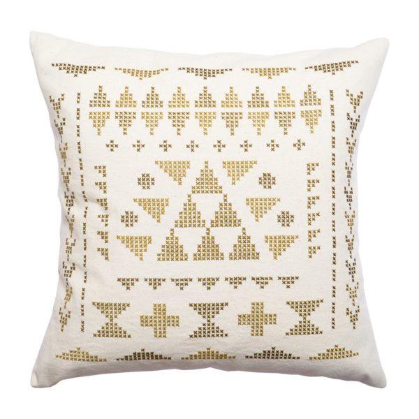 Kissen mit Dreiecken in gold und olive sticken