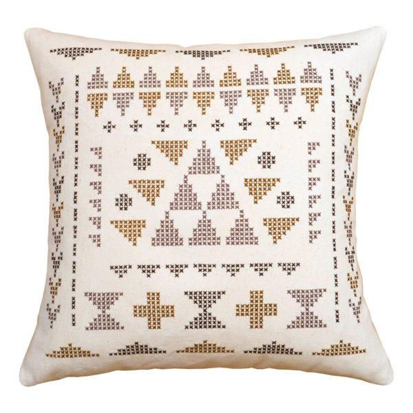 Kissen mit Dreiecken in lila, pflaume und braun sticken