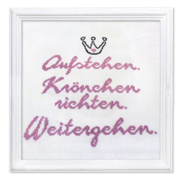 Stickmuster mit Krone für Prinzessin im Kreuzstich