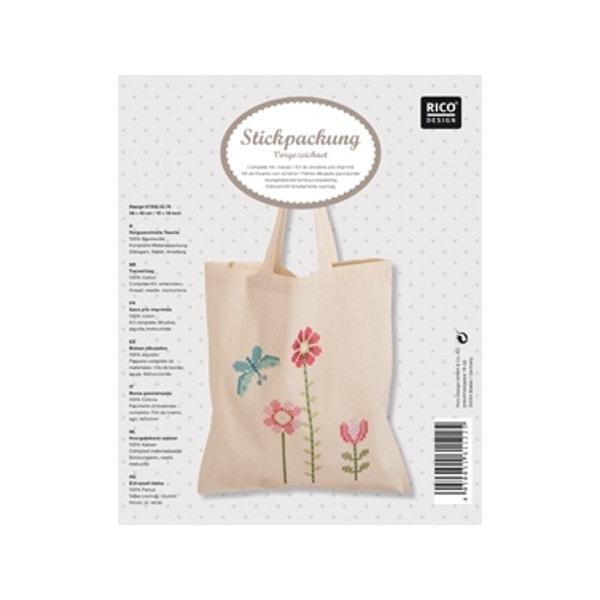 Tasche mit Blumen und Schmetterling besticken