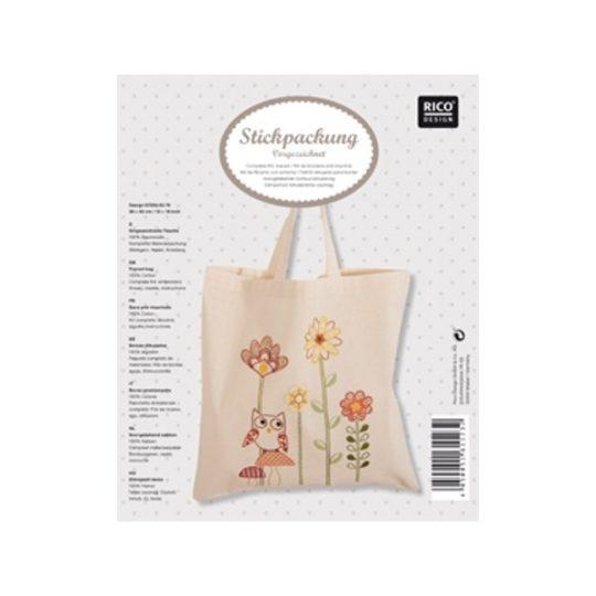 Tasche mit Eule und Blumen besticken