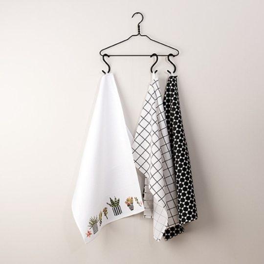 Geschirr-Handtuch besticken mit Kakteen