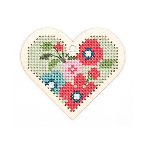 Stickpackung Kreuzstich für Anhänger mit Herz