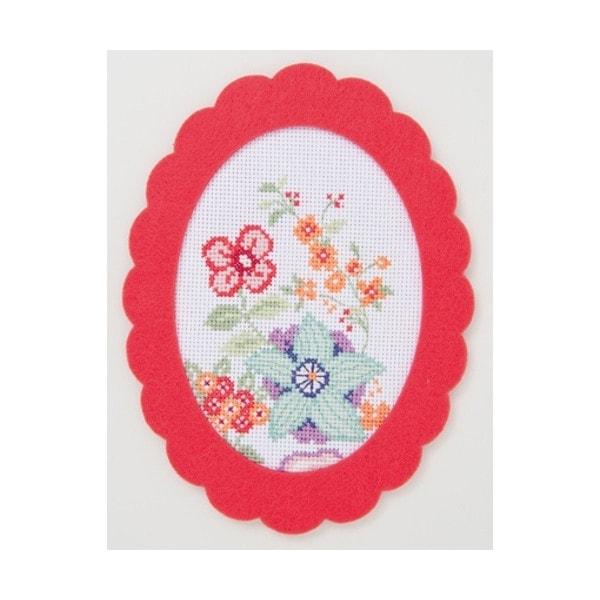 Blumen in Pastel für Kreuzstich inklusive Filzrahmen
