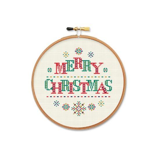 Stickvorlage mit Schneeflocken Weihnachten