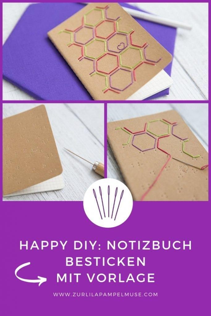 Sticken DIY - Notizbuch besticken - gesehen bei zurlilapampelmuse.com