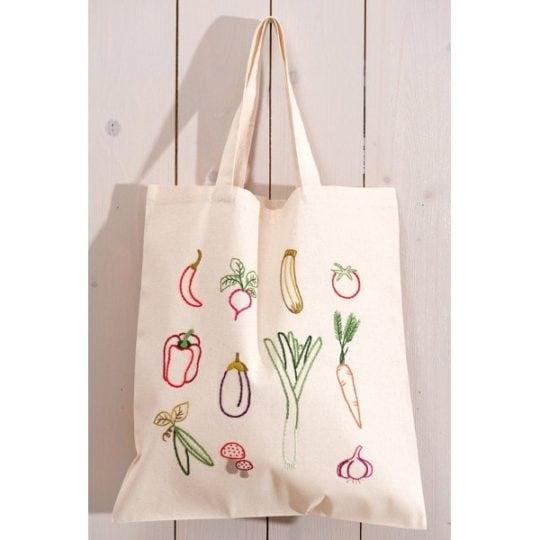 Baumwoll Tasche mit Gemüse-Sorten besticken - von Rico