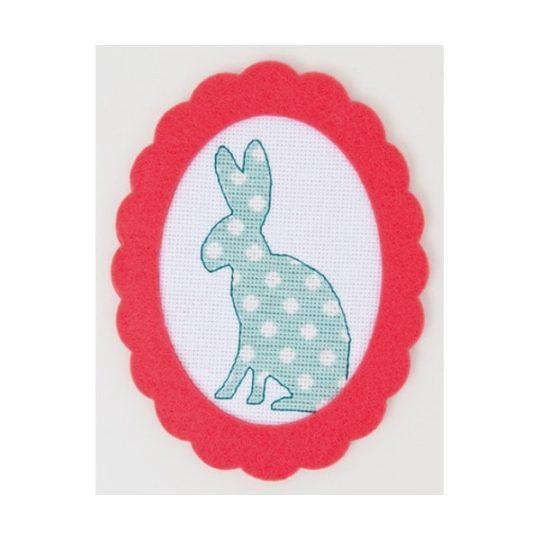 Kaninchen in Hellgrün in Kreuzstich sticken