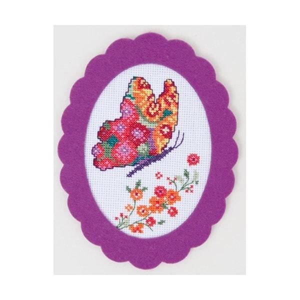 Schmetterling im KReuzstich sticken mit Filzrahmen