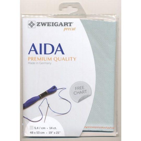 Aida Stoff Zuschnitt fürs Sticken in KReuzstich in grau-grün-Eukalyptus