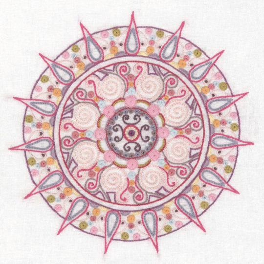 Stickvorlage für ein Mandala mit Sonnen und Strahlen