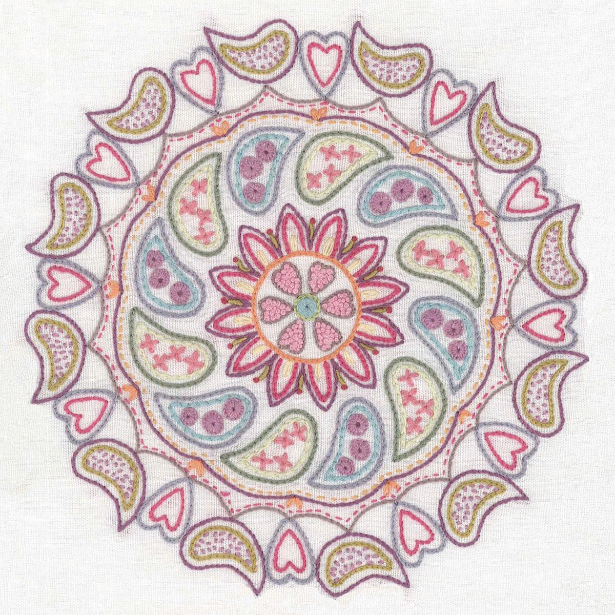 Buntes Mandala sticken: Mit Vögeln, Herzen und Blumen