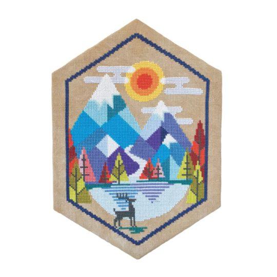 Alpen, Berge, Hirsch und See sticken