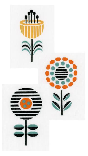 Stickvorlage, Stickmuster Retro-Blumen