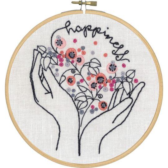 Stickmuster Blumen, Hände, Happiness