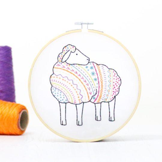 Vorlage Schaf sticken für Anfänger