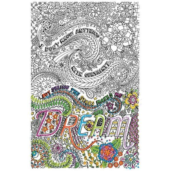 Stickmuster Doodle zum aus-sticken mit Blüten und Sternen