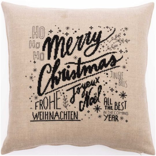 Modernes Kreuzstich Kissen Merry Christmas als Stickpackung l Zur Lila Pampelmuse