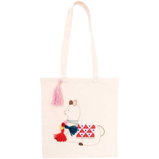 Stylishe Lama Einkaufs-Tasche bzw. Beutel Stickpackung l Zur Lila Pampelmuse
